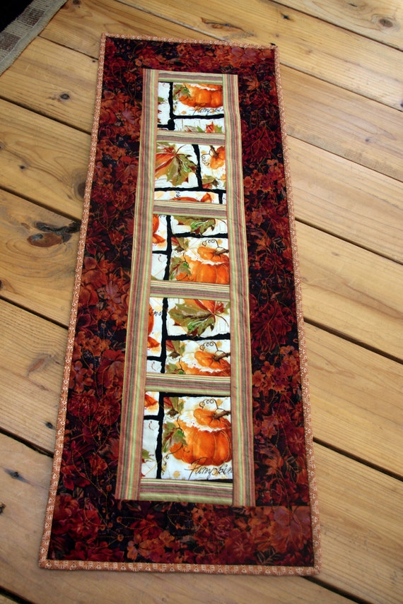 Autumn Fall Pumpkin Quilted Table Runner