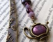 Unique Bookmark - Teapot Charm Bookmark - Purple Bookmark - Beaded Bookmark - Glass Bead Bookmark - Special Bookmark - Teaparty Bookmark