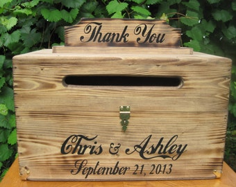 Rustic Personalized Painted Wooden Wedding Card Box LARGE - rustic country wedding keepstake trunk, rustic wooden card box large card box