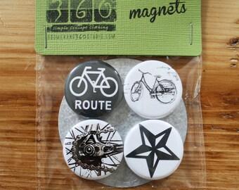 Bike Magnet Pack Set of 4 - 1.25 Inch Fridge Magnets