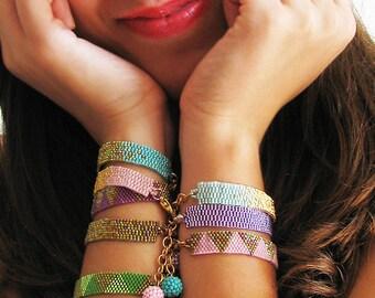 Dicope Soul Bracelet - Custom Set of 6 Bracelets - Triangle and Ombre Glass Beads Bracelets - Beadwork Bracelet