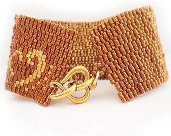 Bronze Glass Beads Bracelet - Peyote Cuff Bracelet - Brown Beadwork Bracelet