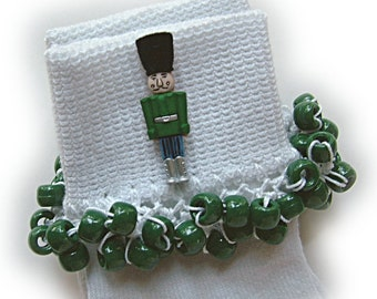 Kathy's Beaded Socks - Green Nutcracker socks, button socks, Christmas socks, holiday socks, school socks, girls socks