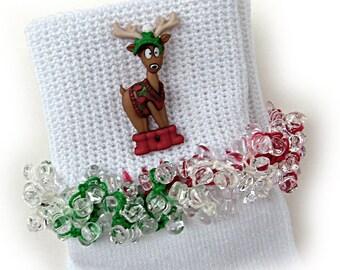 Kathy's Beaded Socks - Red Boots Reindeer socks, Christmas socks, button socks, winter socks, reindeer socks, holiday socks