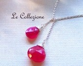 Hot Pink Chalcedony Stone Lariat Neckace - Sterling Silver Necklace, Bridesmaids Gifts, Bridal Party Jewelry - 5005