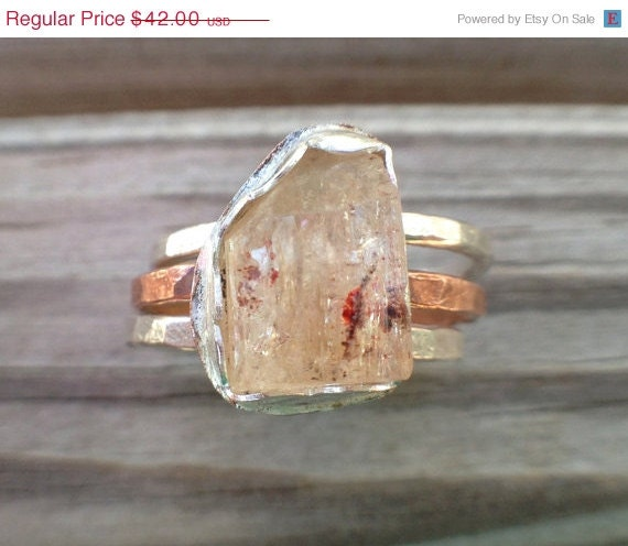 Raw Imperial Topaz Silver Copper Stacking Rings US Size 6.5Raw Imperial Topaz