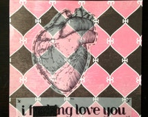 lover and lipstick, original framed modern collage art, anatomical heart drawing with text in pink and black, i love you, valentine's day