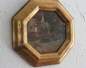 Gold octagon frame river landscape