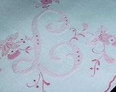 L Monogrammed Handkerchief Hankie PRETTY in PINK Madeira Style