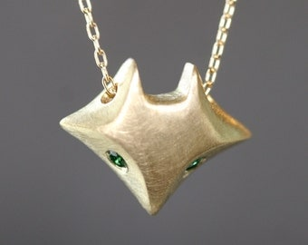 Large Fox Necklace in Brass with Green Tsavorites