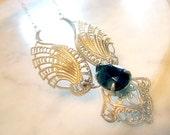 Vintage Western Germany Necklace Wings Angel Filigree Black Teardrop Faceted Stone