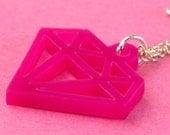 Small Pink Fake Diamond Necklace - Acrylic Laser Cut Pendant - Kitsch