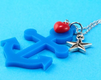 Anchor, Heart & Nautical Star Necklace - Laser Cut - Blue Red - Retro Rockabilly Fifties Kitsch Pin Up