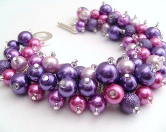 Bridesmaid Jewelry, Pink and Purple Pearl Beaded Bracelet, Cluster Bracelet, Pearl Bracelet, Bridesmaid Gift, Purple Wedding Jewelry Gift