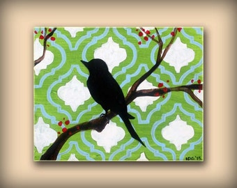 Green and Blue Moroccan Tile Painting Featuring a Bird on a Branch....Abstract Modern Art  Painting by HD Greer