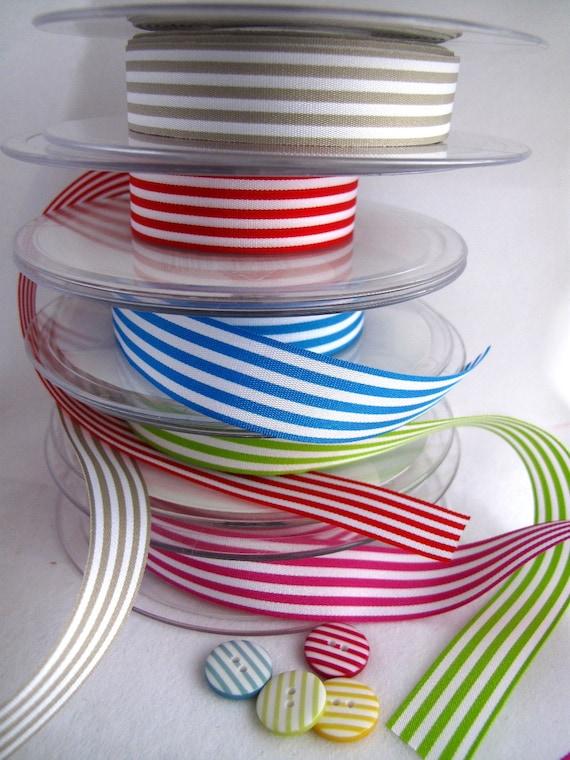 Ribbons x5metres 5 colours PARTY STRIPES