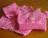 Hand Knitted Baby Sweater and Hat Handmade Bonnet Infant Sweater Set