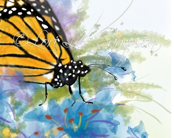 Butterfly Clipart | Digital Download | Small Print |  Nature Clip Art | Monarch Butterfly in a Garden of Blue Flowers | Butterfly Decor