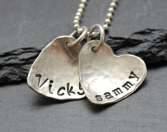 Personalized Hammered Heart Necklace;  Mother's Heart Necklace in Sterling Silver