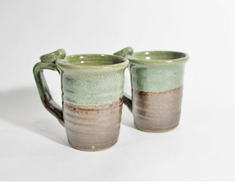 Green Moss mug, Ceramic mug, Handmade pottery, for him, ready to ship