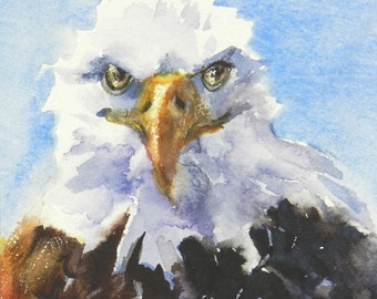 Bald Eagle Watercolor Painting, 5 x 5 inches, Gift For Patriot, Patriotic Gift, USA Patriotic Symbol
