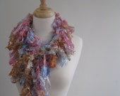 "gold blue boa, pink gold scarf, silky scarf, loopy scarf, ribbon boa, sexy scarf, gift scarf, long scarf ""caramel"""