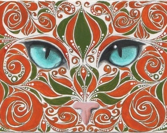 Reproduction ACEO Green and Orange Swirl Cat Painting