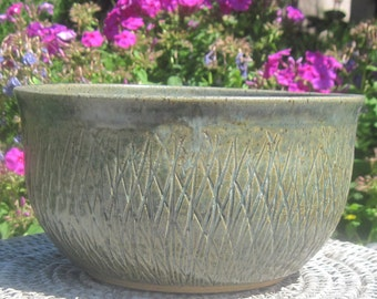 Bowl Green Grass with Swirls in Bottom and Grass Carving on outside - Hand Made Pottery