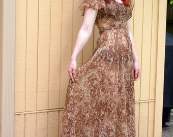 Vintage 70s Maxi dress// Cotton// Brown// Earthy colors