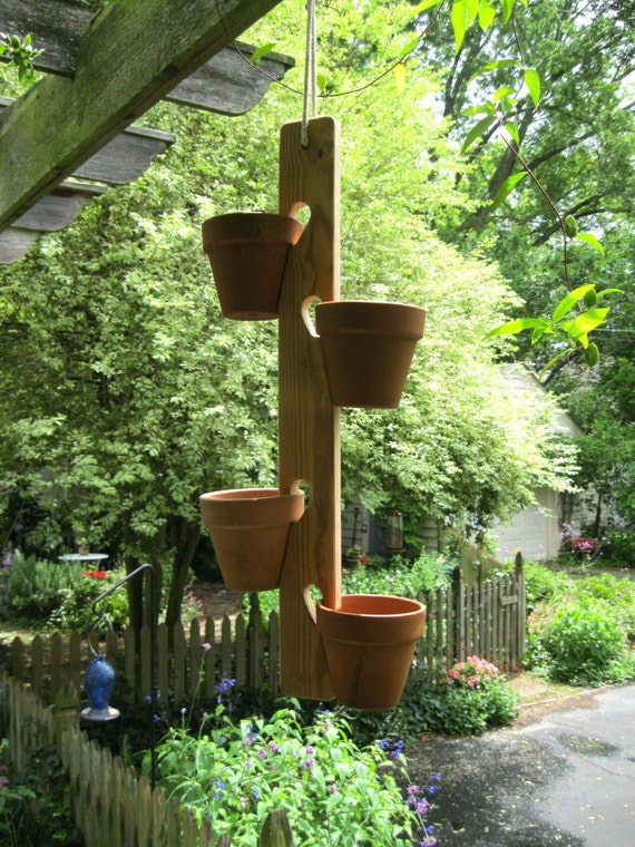 Flower Pot Plant Hanger Wood Garden Herbs Pots By Whimsytwo