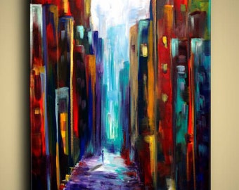 Gallery Canvas and Art Prints Cityscape Skyline Architecture Buildings Street Modern Abstract Contemporary Elena