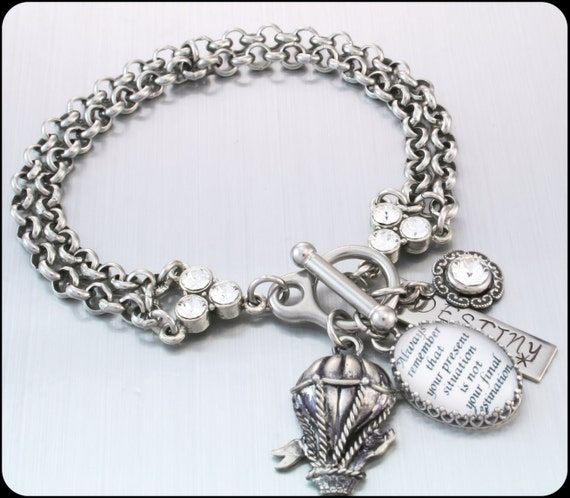 Inspirational Charm Bracelets: Quote Bracelet Inspirational Jewelry Silver By