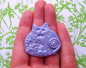 Polymer Clay - light blue Happy Cat Brooch or Magnet