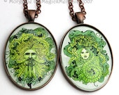 GreenMan or GreenWoman Pendant Pagan Wearable Fantasy Miniature Art Necklace Nature Mythology