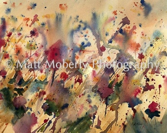 Flowers in a Storm fine art print from original watercolor