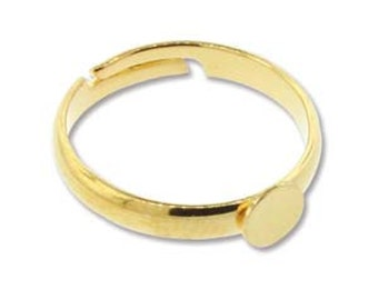 Bright Gold Color Adjustable Ring Blank With 6mm Glue On Plate (4) 85006