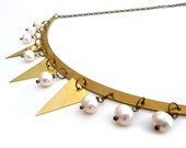 Gold brass necklace, triangles and white fresh water pearls, geometric jewelry - ixela