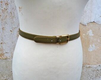 Vintage 1980/80s OLIVE green leather  belt /golden buckle