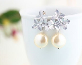 Bridesmaids Gifts, Wedding Earrings, Ivory Pearl Dangle Earrings, Bridesmaid Earrings, Bridal Party Floral, Set of 3, 4,5, 6, 7, 8, 9, 10