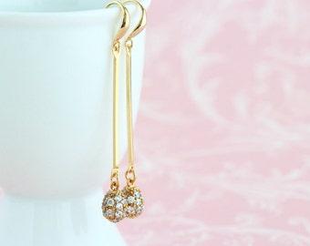 Bridesmaids Gifts, Dangle Earrings, Gold Plated Cubic Zircona, Wedding Earrings, Long Earrings, Bridesmaids Earrings, Sophisticated Earrings