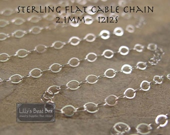 Two Feet of Sterling Silver 2.1mm Cable Chain, 2 Feet, Flattened Cable Chain for Making Jewelry, Everyday Necklace (1212s)