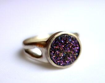 Heavy Handmade Purple Druzy Signet Ring
