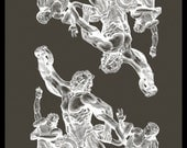 "Artist's Proof- Laocoon prints in White Acrylic on Pebble-Grey Cotton Paper: 25.5"" x 19"""