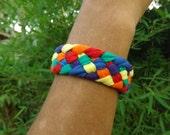"Friendship Boho, Rustic, Rainbow, Hippie  Bracelet Braided 6 colors .34"" wide"