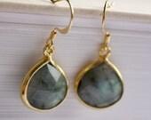 Gold and Labradorite Teardrop Dangle earrings Free USA Shipping