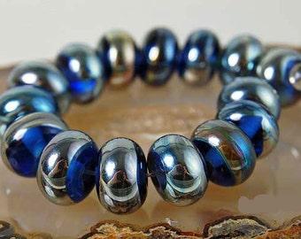 Heavens Dream , 11 round handmade glass beads,  ivory gold by Beadfairy Lampwork, SRA