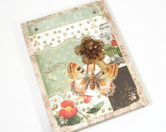 Shabby Chic Victorian Journal Coptic Stitched Blank Butterfly Embellished
