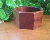 Wood Bangle - Sapele Wooden Jewelry - Hippie Gypsy - Orange Tone - Brown Natural Earthy - Hexagon - Wooden - Bracelet - X Small - Tiny Wrist