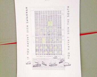 See the South SAVANNAH MAP No. 1 (Art Print) City Map Drawing Savannah River Ships