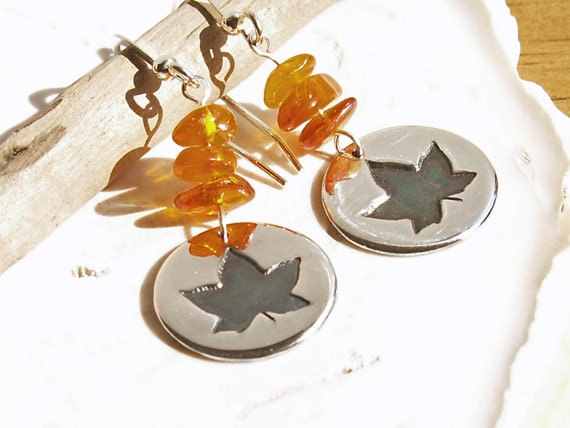 Amber Maple Leaf Disc Earrings sterling earwires handmade small round circle disc autumn nature design natural golden honey yellow